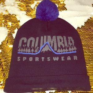Columbia sportswear blue beanie hat with pom-pom